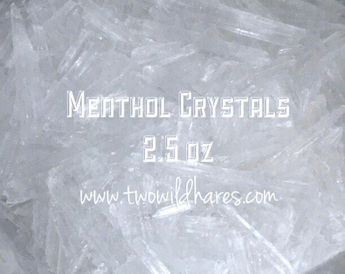 2.5 oz MENTHOL CRYSTALS, 100% Mentha Arvensis, Two Wild Hares
