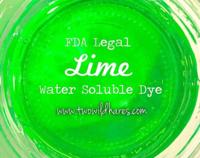 LIME Water Soluble DYE, 90% Pure Dye, Cosmetic Colorant, FDA Legal for Use in For Sale Products, 1 oz Container Pack, Two Wild Hares