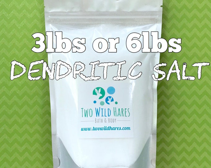 DENDRITIC Salt, Fine Grain, Anchors Scent, Keeps Salts from Clumping, Choose 3lbs or 6lbs, DIY Bath Bomb, Free USA Ship,Two Wild Hares