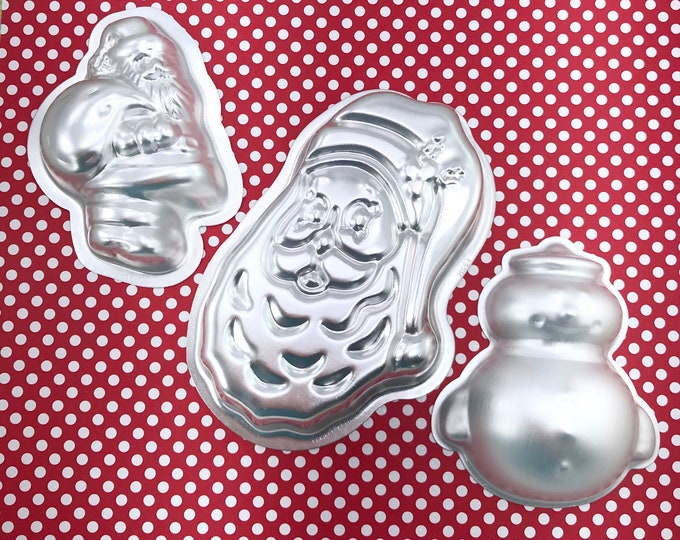 CHRISTMAS SET (Santa w/Toys/Santa Claus Beard/Fat Snowman) Bath Bomb & Baking Molds, Metal, Christmas, Winter, Snow, Two Wild Hares