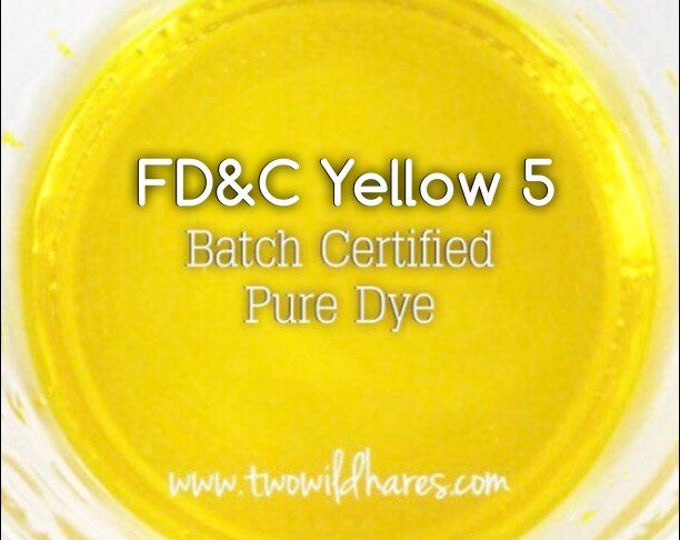 LEMON Water Soluble DYE, Batch Certified FD&C Yellow 5 Dye, Cosmetic Powdered Water Soluble Colorant, 1 oz Container Pack, Two Wild Hares