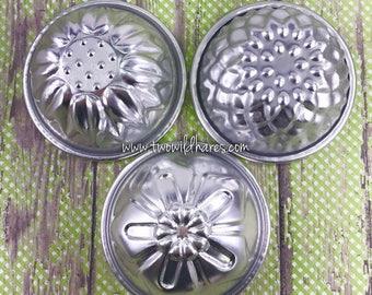 "FLOWER MOLD SET, 3 Metal Bath Bomb & Baking Molds, 3 1/8"", (Chrysanthemum, Sunflower, Oleander) Two Wild Hares"