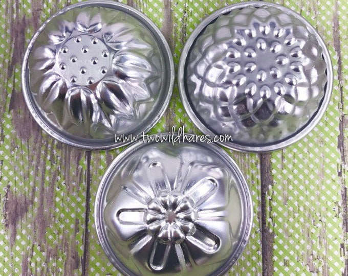 "FLOWER MOLD SET, 3 Metal Bath Bomb & Baking Molds, 3 1/8"", (Chrysanthemum, Sunflower, Oleander) Two Wild Hares"