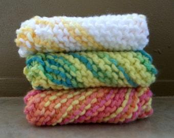 100% Cotton Handmade Dishcloth/Washcloth, Two Wild Hares