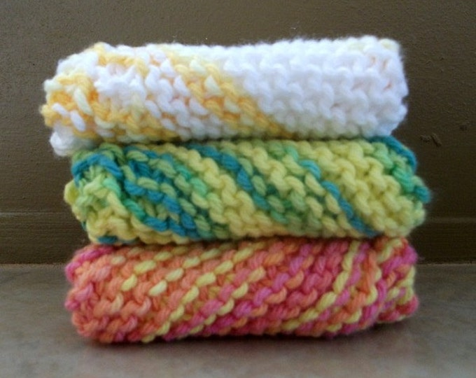 100% Cotton Handmade Dishcloth/Washcloth, Random Colors, Two Wild Hares