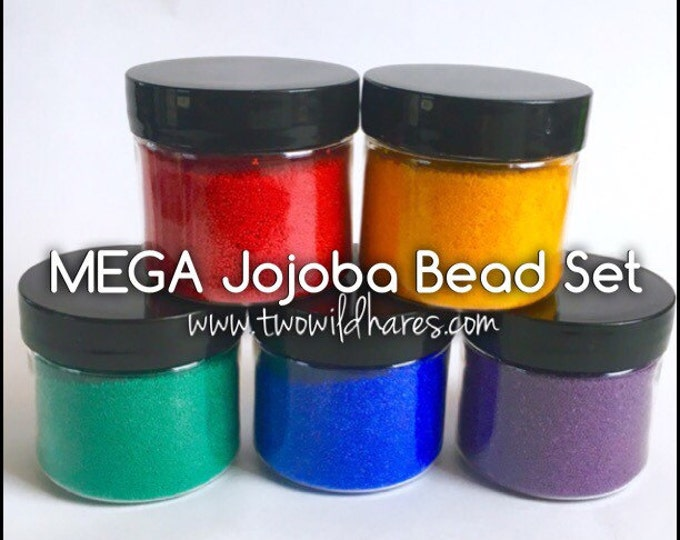 MEGA RAINBOW Jojoba Bead Set, 5 Colors, Bulk 4oz size for each color (20 oz) Free Usa Ship, Diy, Two Wild Hares
