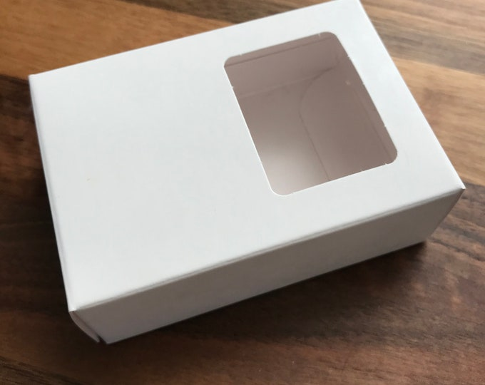 "25-White Window Soap Boxes, 2 9/16"" x 3 5/8"" x 1 1/4"", Eco Friendly Recyclable Soap Packaging, Two Wild Hares"