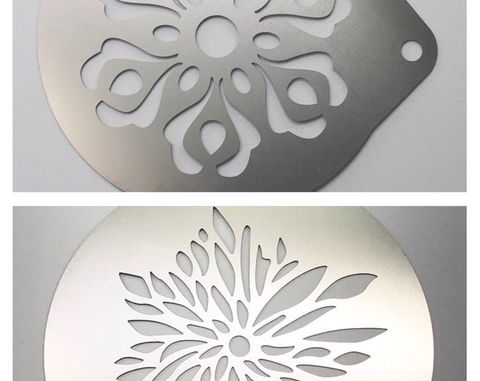 2pc. Airbrush Stencil, 2 Flower Designs, Bath Bombs, Baking, Coffee, Cake, etc. Stainless Steel, Two Wild Hares