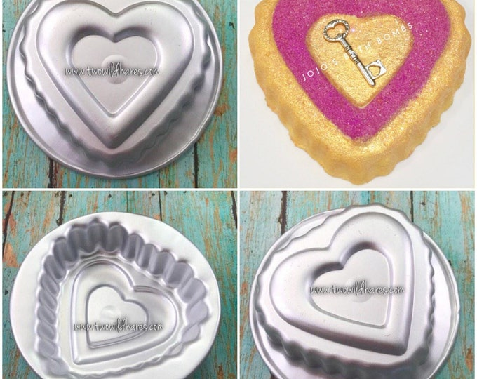 "LACY SCALLOPED HEART Bath Bomb & Baking Mold, Metal, 3 1/2"" across, 1 1/4"" Deep, Two Wild Hares"