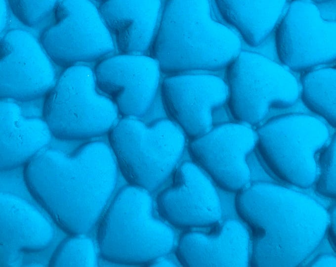 "HEARTS Impression Texture Mat Mold, 9.5""x7"", Silicone, Soap, Bubble bar, Soap Dough, Fimo, Etc, Two Wild Hares"