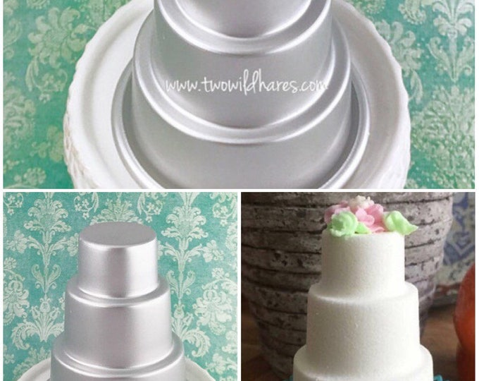 "WHITE WEDDING CAKE, Bath Bomb Mold, 3 Tiered Cake, Metal, 3.25"", Two Wild Hares"