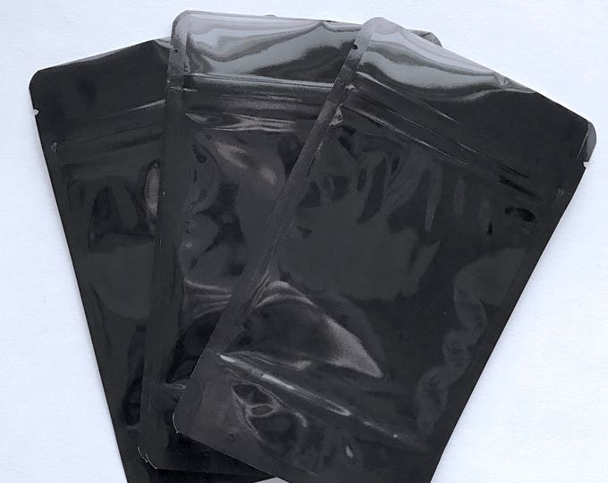 """100-5x8"""" BLACK/CLEAR Foil Stand Up Pouches, Free Usa Ship, Heavy Duty 5.4mil, Tear Notch, Zipper Seal, Impulse Sealable"""