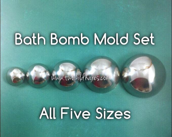 "MEGA Bath Bomb Mold Set, Heavy Duty Stainless Steel, Won't Dent, 5 sizes, (3.5"", 3"", 2.5"", 2"", 1.5""), Two Wild Hares"