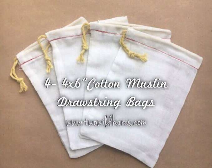 4 Muslin Bags Muslin Drawstring Bags For Making Bath Teas, Using Bubble Bars, Soap Saver, Stamping with Your Logo, Packaging Products