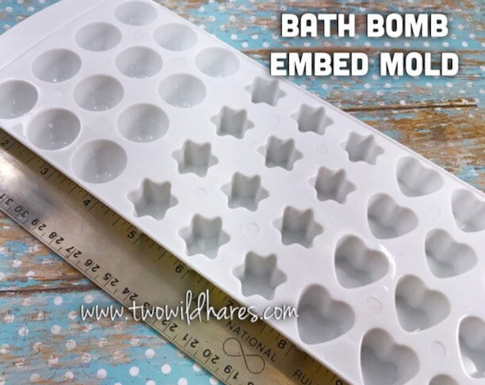 "3 in 1 BATH BOMB EMBED Mold, Star, Heart, Gumdrop in 1 Mold, 36- 7/8"" Cavities, Hard Plastic, Bath Bomb Making Tool, Two Wild Hares"