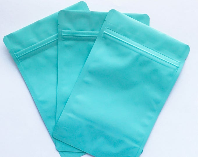 100-5x8 MATTE TURQUOISE Stand Up Pouches, Heavy Duty 5.4mil, Tear Notch, Impulse + Zipper Seal, Free Usa Ship,Two Wild Hares