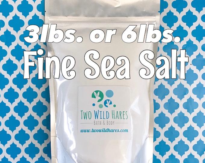 FINE Sea Salt, Food Grade, Fine Grain, Free Usa Ship, DIY Bath Bomb Ingredient, Choose 3 or 6lb Stand Up Bag, Two Wild Hares