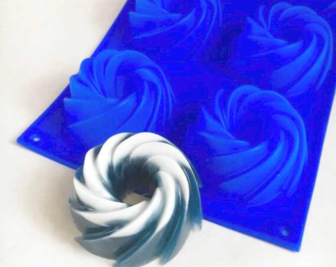 FRENCH Crueller Donut Soap Mold, Silicone, 6- 2.7 oz cavities, DIY Soap, Heat Safe, Free US Ship, Two Wild Hares