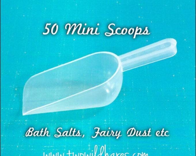 50 Mini SCOOPS, 1oz, Free US Ship, Clear Plastic, Bath Salt, Bomb Dust, Bath Teas, Bubble Salt, DIY, Two Wild Hares