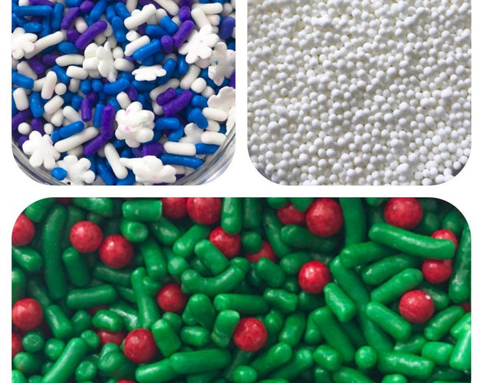 CHRISTMAS SPRINKLES SET, Frosty Blizzard/Holly & Berries/ Snow White Pariels, 10oz total