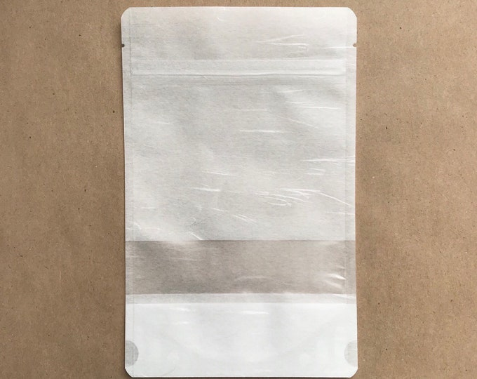 """100-5x8"""" White RICE PAPER Eco Friendly Stand Up Pouches, Tear Notch, Zipper Seal, Impulse Sealable, Packaging, Two Wild Hares"""