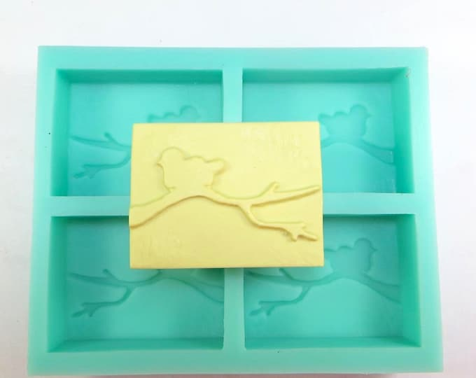BIRD on BRANCH Silicone Soap Mold, Heavy Duty, 4 Cavities, Holds 3.75oz each (15 oz total), Free US Ship,Two Wild Hares