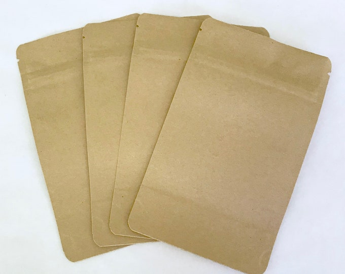50-6x9 KRAFT Stand Up Pouches, Eco Friendly, Heavy Duty, Tear Notch, Zipper +  Impulse Sealable, Two Wild Hares