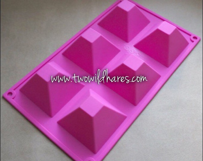 PYRAMID Silicone Soap Mold, 6 Cavity, 21 oz Volume, Heat Resistant, Lotion Bars, Soap, Jelly, Wax, Free Usa Ship, Two Wild Hares