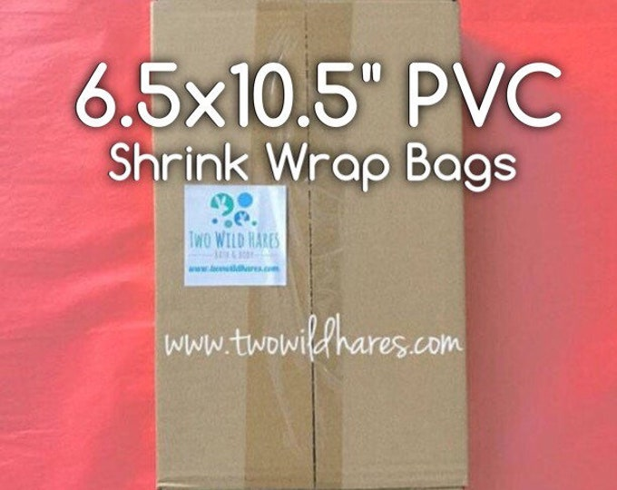 """500-PVC 6.5x10.5"""" LARGE Shrink Wrap Bags, 80g, Fits 4"""" Big Daddy Bath Bomb, High Clarity, Two Wild Hares"""
