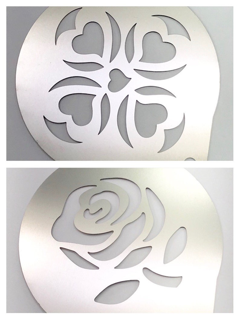 2pc  Airbrush Stencil, Rose & Heart, Bath Bomb, Coffee, Cake, etc   Stainless Steel, Two Wild Hares