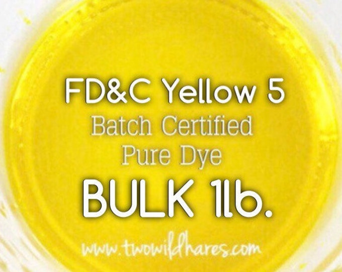 1lb Bulk LEMON Water Soluble DYE, Batch Certified FD&C Yellow 5, Cosmetic Powdered Water Soluble Colorant, Free Usa Ship, Two Wild Hares