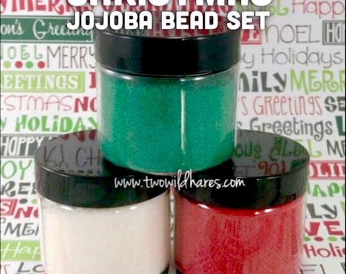 CHRISTMAS JOJOBA BEAD Set, Red, Green, White, 20/40 Exfoliant Safe Alternative to Microbeads for Bath Products