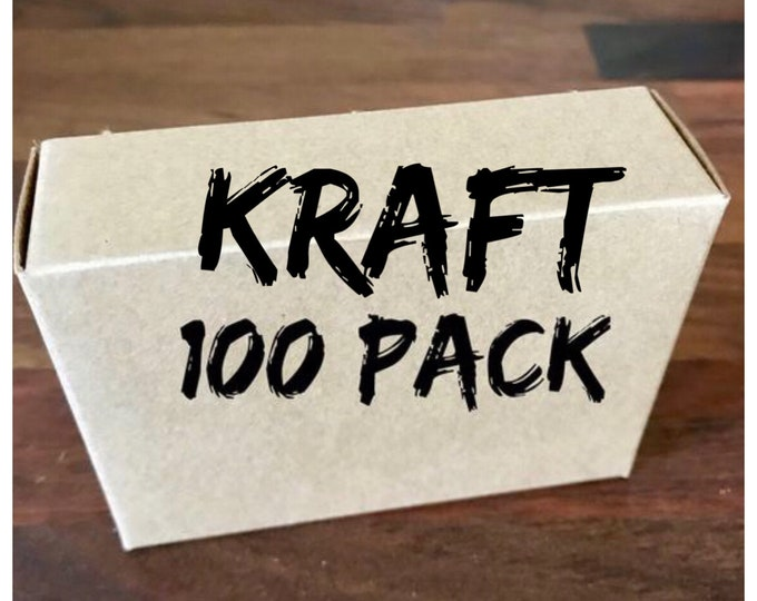 """100-KRAFT Boxes, 100% Recyclable, 2 3/4"""" x 3 13/16"""" x 1 3/16"""" deep, Eco Friendly Soap Packaging, FREE Us Ship, Two Wild Hares"""