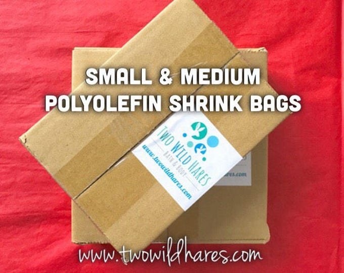 """POLYOLEFIN Bag Set, Small & Med, Free US Ship, 4x6"""", 6x6.5"""", 1000 bags, (Smell Thru Plastic), 100g, BEST Bath Bomb Wrap, Two Wild Hares"""