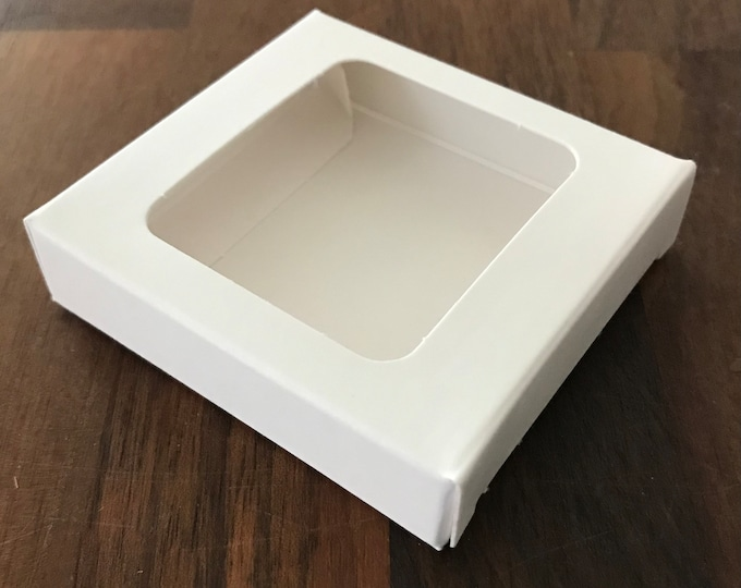 """100-4 Lip Balm Box, White, 100% Recyclable,  2.75"""" x 2.75"""" x 0.625"""", Eco Friendly Packaging, Gift Set, FREE Us Ship, Two Wild Hares"""