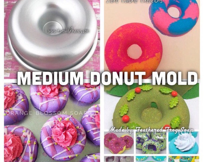 """MED. DONUT Bath Bomb Mold, Metal, 3 3/8"""", Two Wild Hares"""