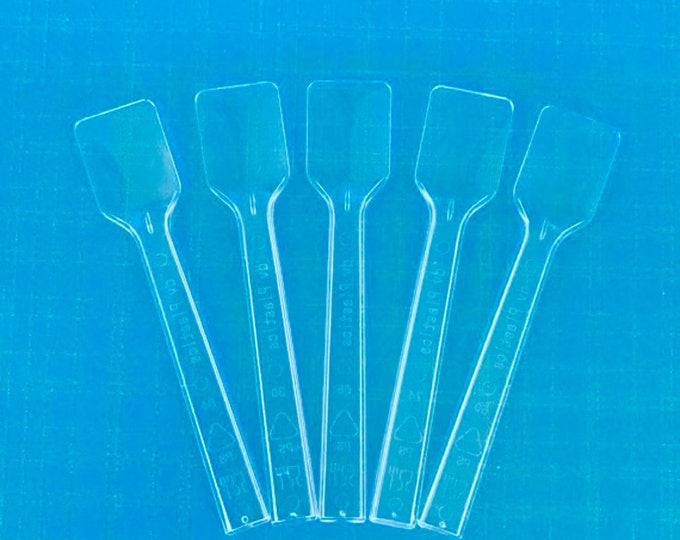 100- CLEAR MINI SPATULAS, free usa ship, for sugar scrub, body butter, body frosting & testers