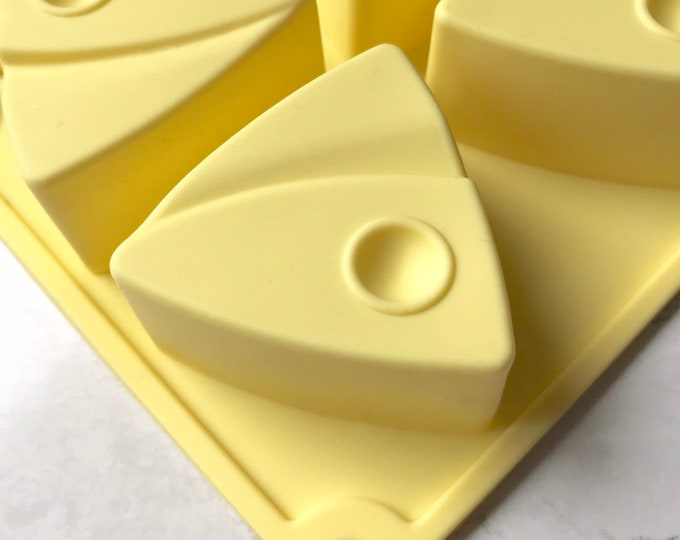 ART-Deco Triangle Silicone Mold, Lotion Bars, Jelly Soap, Wax, 6-3oz cavities (18 oz total), Heat Safe, DIY, Free US Ship, Two Wild Hares