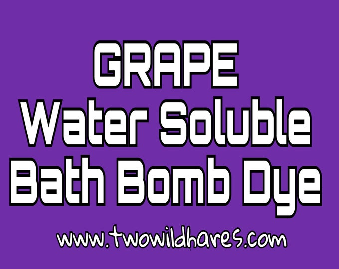 1oz. GRAPE Bath Bomb Dye, 84-91% Batch Certified Water Soluble Powdered Cosmetic Colorant, Container Packaging, Two Wild Hares