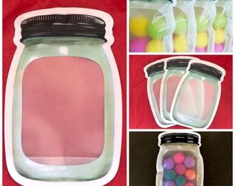 """50-Med MASON Jar Bags (5.25x7.87""""), Stand Up Pouches, Impulse Sealable, For Bath Salt, Bomb Dust, Milk Bath, Bath Tea Etc"""