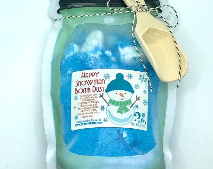 HAPPY SNOWMAN Bomb Dust, 9oz, Holiday Scent with Wood Scoop, Bath, Gift, Christmas, Two Wild Hares