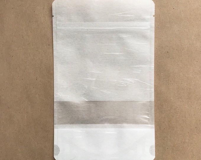 """100-6x9"""" White RICE PAPER Eco Friendly Stand Up Pouches, Tear Notch, Zipper Seal, Impulse Sealable, Free Usa Ship, Two Wild Hares"""