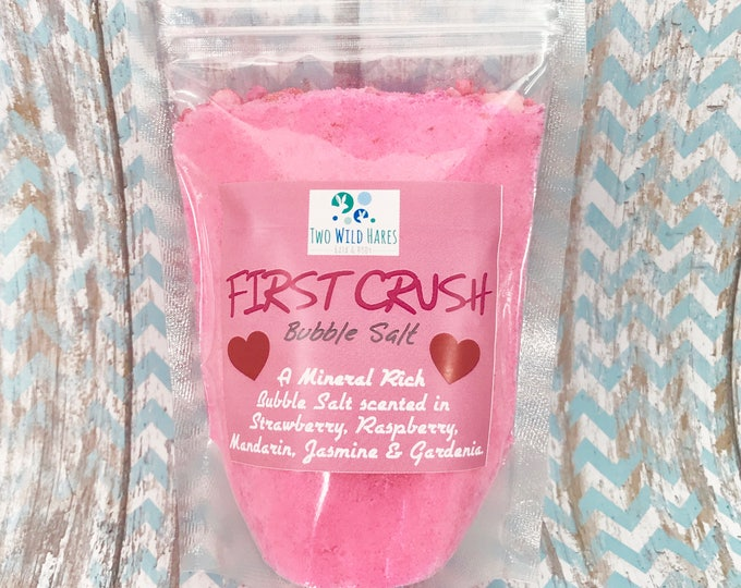 FIRST CRUSH BuBBle Salt, Strawberry, Raspberry, Mandarin, Jasmine & Gardenia Bubble Bath, Mineral Salt Bath, Pink Bath 7 oz