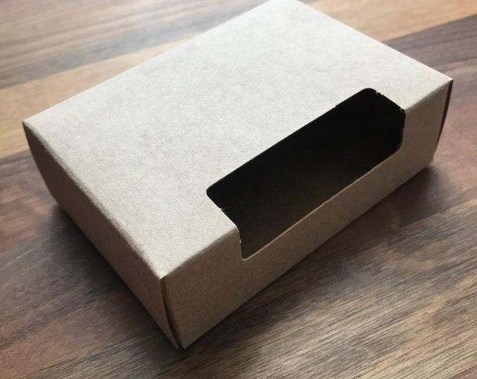 "25-Fancy Top Window Soap Box, Kraft, 100% Recyclable,  2 3/4"" x 3 13/16"" x 1 3/16"", Eco Friendly Soap Packaging, Two Wild Hares"