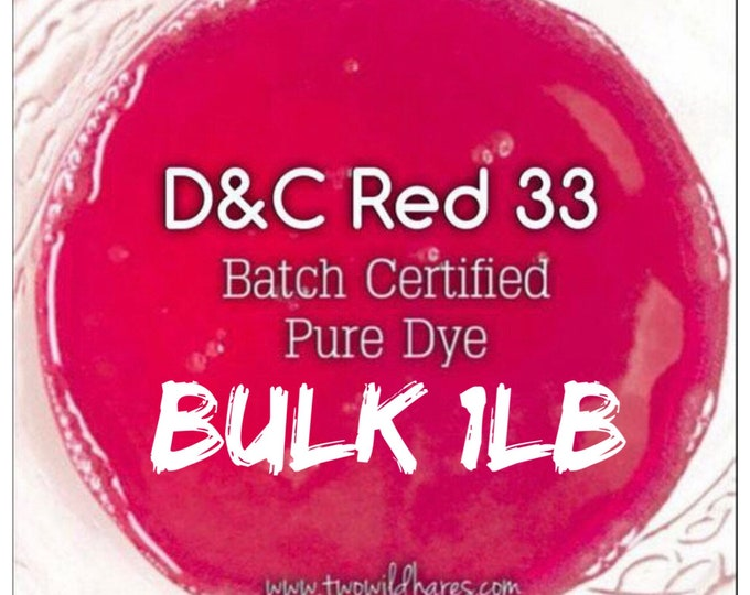 1lb Bulk FUCHSIA Bath Bomb DYE, Batch Certified D&C Red 33, 89-91% Water Soluble Cosmetic Colorant, Container Packaging, Two Wild Hares