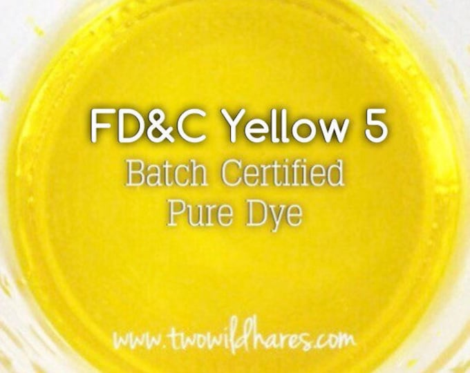 1oz. LEMON Bath Bomb DYE, Batch Certified, FD&C Yellow 5, Cosmetic Powdered Water Soluble Colorant, Container Packaging, Two Wild Hares