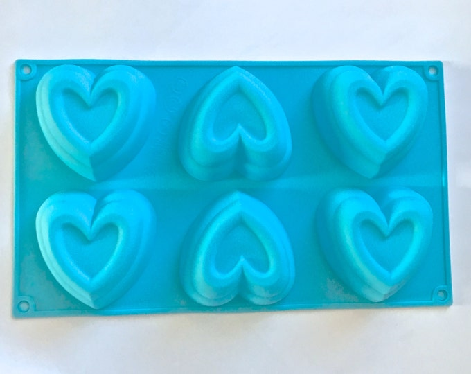 FRAMED HEART Soap Mold, Heat Safe Silicone, 6-4oz Cavities, DIY Soap, Free Usa Ship, Two Wild Hares