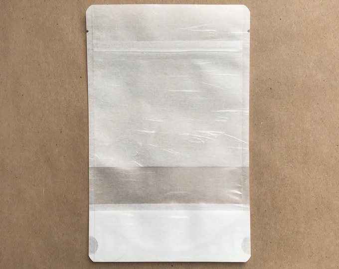 """25-5x8"""" White RICE PAPER Eco Friendly Stand Up Pouches, Tear Notch, Zipper Seal, Impulse Sealable, Packaging, Two Wild Hares"""