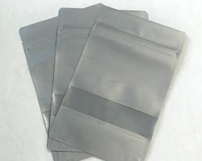 """100-6x9"""" Silver RICE PAPER Eco Friendly Stand Up Pouches, Tear Notch, Zipper Seal, Impulse Sealable, Free Usa Ship, Two Wild Hares"""
