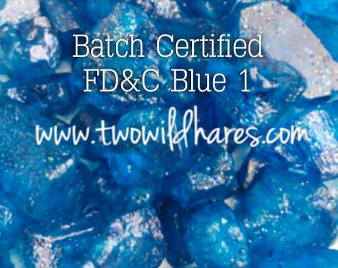 1oz. ELECTRIC BLUE Bath Bomb DYE, Batch Certified Fd&c Blue 1, 86%, Water Soluble Powdered Colorant, Container Packaging, Two Wild Hares